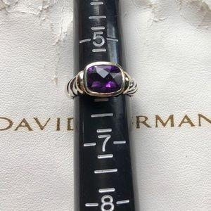 David Yurman Amethyst Noblesse Ring 14K 6 10mm